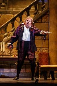 "Rigoletto (Mark Delavan) declares that he'll pursue a ""tremendous vendetta"" on the Duke of Mantua for ravaging his daughter."