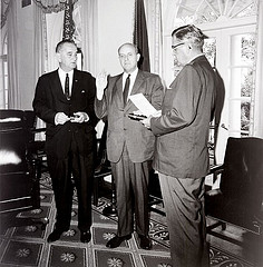 1965: Roger L. Stevens, with President Lyndon B. Johnson, is sworn in as first Chairman of the National Council for the Arts. Photo via Wystan on Flickr